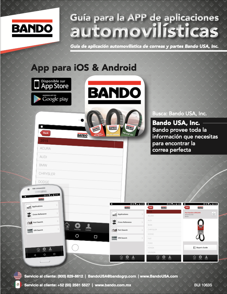 Bando Spanish Automotive Application Guide APP flier